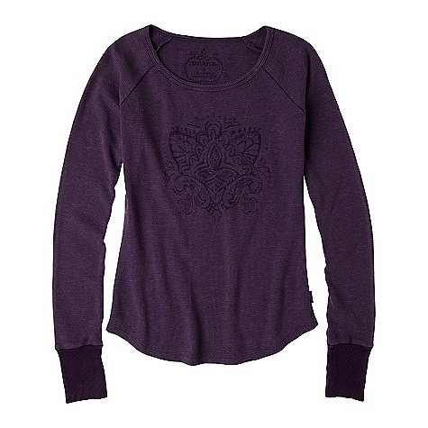 Free Shipping. Prana Women's Jill Thermal Top DECENT FEATURES of the Prana Women's Jill Thermal Top Waffle body All over in.vintagein. garment dye treatment Soft hand-feel Water based print at front body The SPECS Fabric: 50 Cotton / 50 Polyester - $49.95
