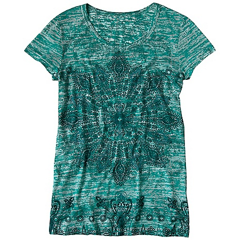 Free Shipping. Prana Women's Chai Tee DECENT FEATURES of the Prana Women's Chai Tee Lightweight burnout fabric Front sublimation print Garment dye The SPECS 50 Cotton / 50 Polyester - $54.95