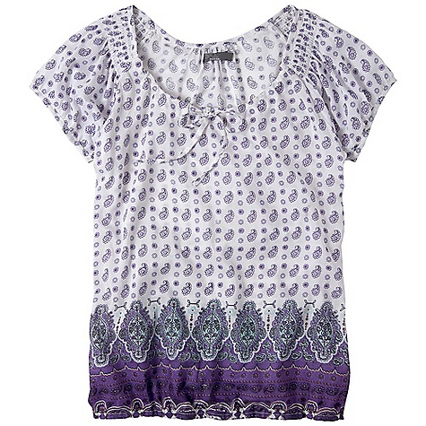 On Sale. Free Shipping. Prana Women's Gigi Top DECENT FEATURES of the Prana Women's Gigi Top Printed silk blend Self tie at front neck Elastic waistband Scoop neck plus silicone wash for extra soft hand feel The SPECS Fabric: 75% Cotton / 25% Silk - $43.99