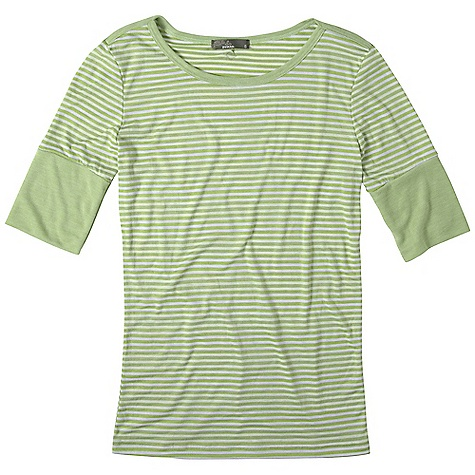 On Sale. Free Shipping. Prana Women's Gina Top DECENT FEATURES of the Prana Women's Gina Top Vibrant, garment dyed stripe tee Wide rib cuff finishes the cafe length sleeve Rib binding at neckline and across shoulder White stripes on all color ways The SPECS Fabric: 50% Cotton / 50% Polyester - $29.99