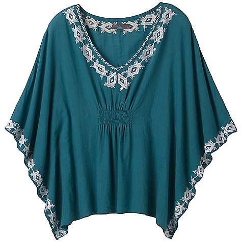 On Sale. Free Shipping. Prana Women's Payton Top DECENT FEATURES of the Prana Women's Payton Top Woven cotton slub poncho Lightweight with nice drape Smocking at front and back waist Embroidery around neckline and sleeve opening The SPECS Fabric: 100% Cotton - $32.99