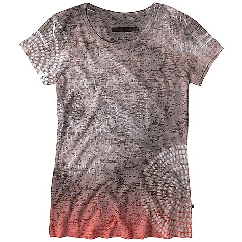 Free Shipping. Prana Women's Spiral Tee DECENT FEATURES of the Prana Women's Spiral Tee Lightweight burnout fabric Front and back sublimation print The SPECS 50 Cotton / 50 Polyester - $54.95