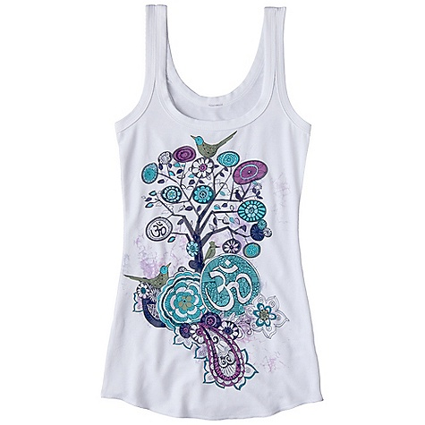 Surf Prana Women's Om Tank DECENT FEATURES of the Prana Women's Om Tank Veeda fabric Tank with shirttail hem Double scoop neck at front and back Sublimation prints on front and back body The SPECS 45 Recycled Spun Polyester / 45 Spun Polyester / 10 Spandex 6.6 oz / sq yd - $44.95