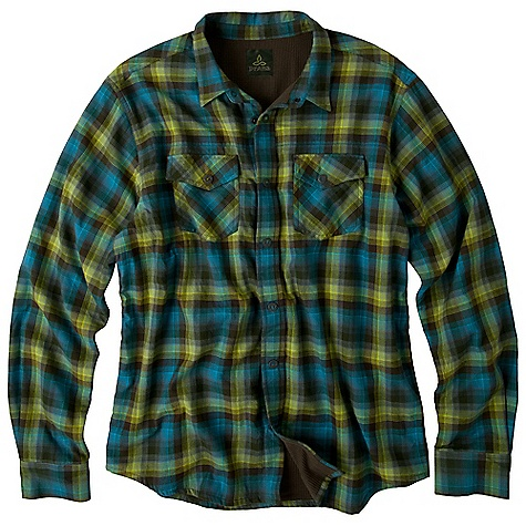 On Sale. Free Shipping. Prana Men's Asylum LS Top DECENT FEATURES of the Prana Men's Asylum Long Sleeve Top Woven flannel yarn dye plaid over shirt Thermal lined Antique metal ring snaps with custom engraved 'Born from the Experience' Relaxed fit The SPECS 100 Organic Cotton - $52.99