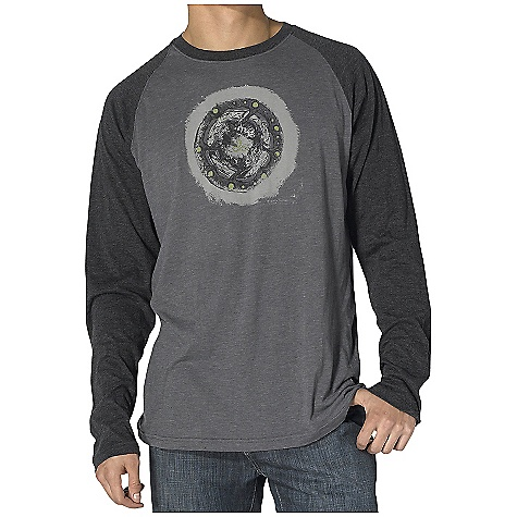 On Sale. Prana Men's Twine Heathered T DECENT FEATURES of the Prana Men's Twine Heathered T Lightweight heathered jersey Raglan longsleeve Front chest in.twine mandalain. screenprint The SPECS 60% cotton 40% polyester - $19.99