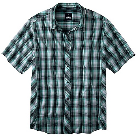 On Sale. Free Shipping. Prana Men's Milo SS Shirt DECENT FEATURES of the Prana Men's Milo Short Sleeve Shirt Medium scale yarn dye plaid shirt with pearl snaps at front placket Bias cut detailing Standard Fit The SPECS 100 Organic Cotton - $28.99