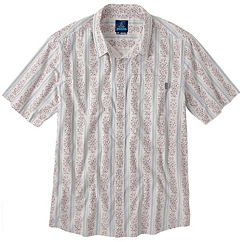On Sale. Free Shipping. Prana Men's Carbon SS Woven Top DECENT FEATURES of the Prana Men's Carbon Short Sleeve Woven Top Custom Vertical stripe screen print Vintage motif Logo buttons at placket The SPECS Fabric: 100% Cotton - $39.99