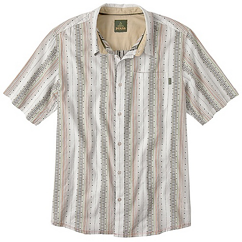 Free Shipping. Prana Men's Carillo SS Woven Top DECENT FEATURES of the Prana Men's Carillo Short Sleeve Woven Top Lightweight multi colored vertical stripe dobby pattern fabrication Pearlized logo button closure Standard fit The SPECS 100 Organic Cotton - $64.95