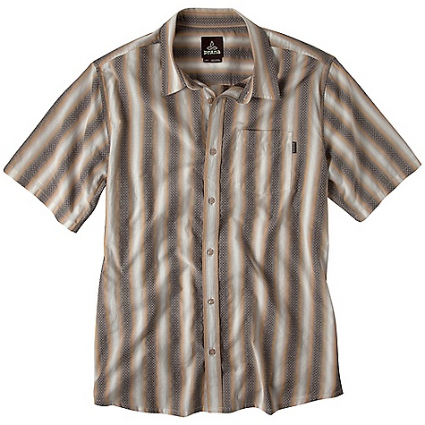 On Sale. Free Shipping. Prana Men's Mambo SS Top DECENT FEATURES of the Prana Men's Mambo SS Top Vertical stripe dobby pattern Logo buttons at placket - $36.99