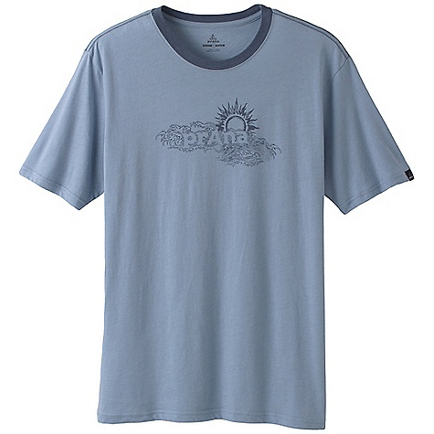 On Sale. Prana Men's Sun Heathered Tee DECENT FEATURES of the Prana Men's Sun Heathered Tee Ringer tee Front in.Sunin. screen-print The SPECS Fabric: 60% Cotton / 40% Polyester - $12.99