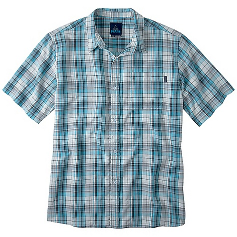 On Sale. Free Shipping. Prana Men's Vincent SS Top DECENT FEATURES of the Prana Men's Vincent Short Sleeve Top Medium scale yarn dye plaid shirt with logo buttons at front placket Travel friendly The SPECS Fabric: 52% Polyester / 48% Modal - $43.99