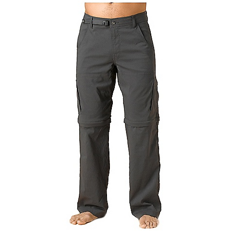 The Prana Men's Stretch Zion Convertible Pant is a convertible hiking pant for ever-changing weather. The Stretch Zion Convertible is made with a nylon and spandex blend for lots of stretch and movement in the outdoors. The zip-off legs make it possible to get an early start in the chilly mornings and move right into the mid-day heat without skipping a beat. The cargo pockets on either side can handle plenty of snacks as you move along the trail. A durable water repellent finish prevents a light rain from soaking in and quick dry time keeps you comfortable. A non-bulky cinch belt in the hem holds them up right where you want them for the full day. Features of the Prana Men's Stretch Zion Convertible Pant The original Stretch 'Zion' fabric with durable water repellent (DWR) Quick dry stretch nylon Performance fabric All-weather finish Abrasion resistant Streamlined adjustable waistband Ventilated inseam gusset Zip-off legs to short length Resistant to penetration by water but not entirely waterproof Stretch fabrication extends, expands and contracts to move with you allowing for ultimate flexibility during any sport, activity or movement Wrinkle-resistant clothing that you can simply take out of the bag, hang and wear. Made with fabric that has stretch and a light-weight feel Water resistant, these products keep moisture on the fabric's surface making it easy for the sun and air to lift moisture out and promote evaporation - $56.99