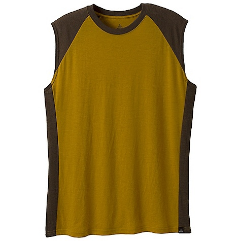 Prana Men's Quest Sleeveless Top DECENT FEATURES of the Prana Men's Quest Sleeveless Top Lightweight heathered jersey Contrast color blocking Woven label at bottom hem Performance Fit The SPECS Fabric: 60 Cotton / 40 Polyester Weight: 3.5 oz - $29.95