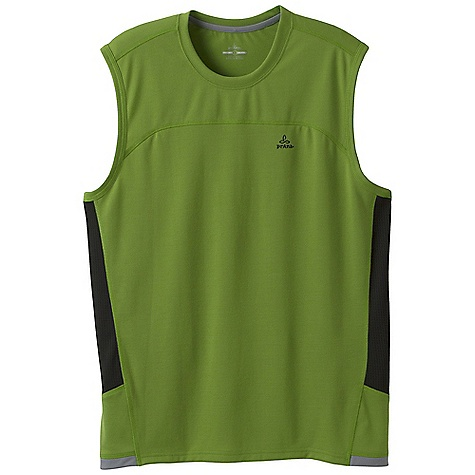 Prana Men's Vertigo Sleeveless Top DECENT FEATURES of the Prana Men's Vertigo Sleeveless Top Lightweight performance knit sleeveless Wrinkle-resistant and quick drying Detailed seams and contrast grey trim Performance fit The SPECS 100 Recycled Polyester - $39.95