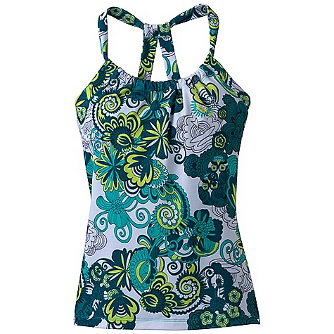 Fitness Features of the Prana Women's Quinn Printed Top Veeda fabric Attractive scoop neck design with unique double strap racerback Internal shelf bra Quick dry - $34.99