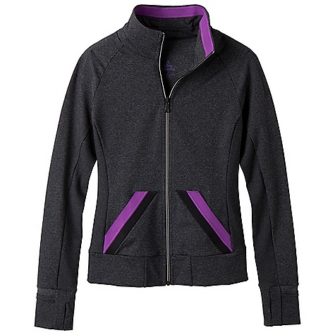 Free Shipping. Prana Women's Crissy Jacket DECENT FEATURES of the Prana Women's Crissy Jacket Chakara performance fabric Novelty elastic detailing on inside collar and front pocket Rib insets at sideseam for flexibility Functional thumbhole and convertible flip cuff for warmth Fitted - $109.95