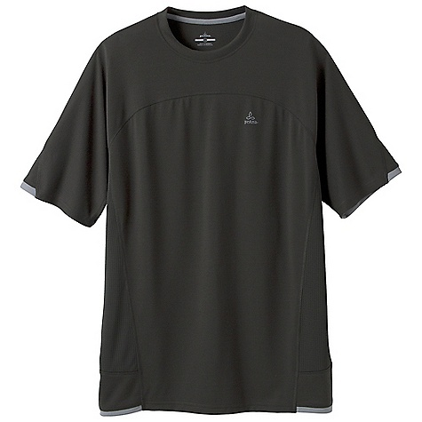 Free Shipping. Prana Men's Vertigo Crew DECENT FEATURES of the Prana Men's Vertigo Crew Lightweight performance knit Wrinklefree and quick drying Detailed seams and contrast grey trim Performance Fit The SPECS 100 Recycled Polyester - $49.95