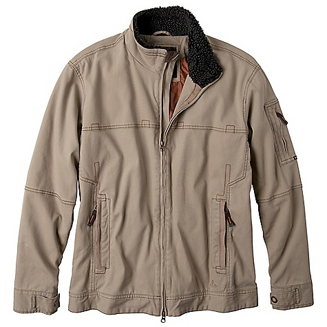 On Sale. Free Shipping. Prana Men's Bronson Jacket FEATURES of the Prana Men's Bronson Jacket Heavy garment wash Pop contrast stitch details Front welt pockets with zipper closure Adjustable snap cuff Internal hanger loop Internal media pocket with logo grommet Front icon embroidery - $73.99
