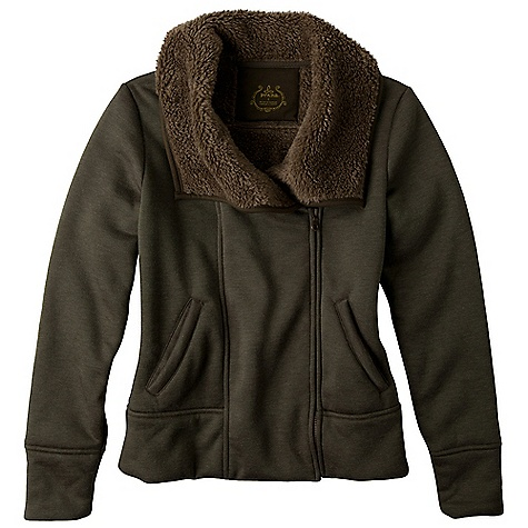 On Sale. Free Shipping. Prana Women's Grace Jacket DECENT FEATURES of the Prana Women's Grace Jacket Soft heathered jersey jacket with bonded sherpa lining Oversized collar Front pockets Standard fit The SPECS 70 Acrylic / 30 Polyester with 100 Polyester bonded plush back 10.77 oz / sq yd - $73.99