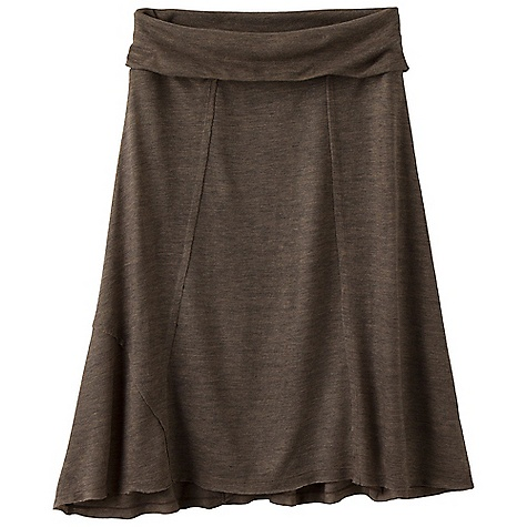 Free Shipping. Prana Women's Daphne Skirt FEATURES of the Prana Women's Daphne Skirt Lightweight, heather wool blend jersey Roll down waistband Raw edges at seams Indicates wool blended fabrics that are highly sustainable, offering natural insulation and comfort - $68.95