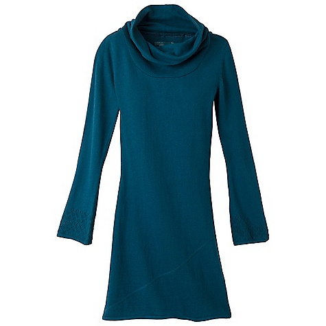 Entertainment On Sale. Free Shipping. Prana Women's Kaya Sweater Dress DECENT FEATURES of the Prana Women's Kaya Sweater Dress Fair Trade Certified Organic cotton wool blend sweater dress Tonal reverse cover stitch detailing at hem and armhole Oversized cowl neck and slight bell sleeve Size small = 36in. (91.4 cm) length from high point shoulder The SPECS Fabric: 80 Organic Cotton / 20 Wool - $49.99