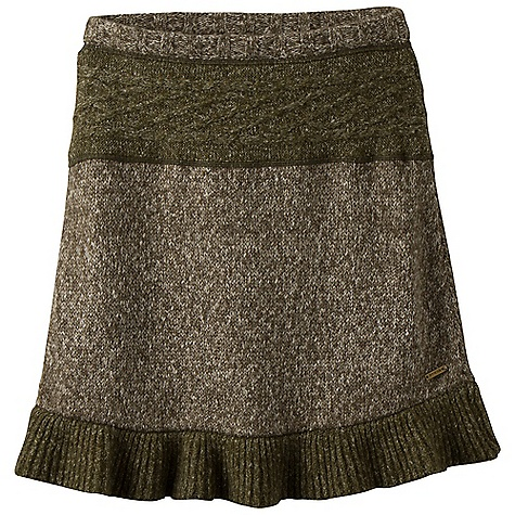 On Sale. Free Shipping. Prana Women's Rena Skirt DECENT FEATURES of the Prana Women's Rena Skirt Multi yarn sweater knit Rib waistband and ruffle hem Tonal intarsia pattern at waist in contrast textured yarn The SPECS Outseam: 17.75in. / 45.09 cm Main: 55 Cotton / 34 Acrylic / 10 Polyester / 1 Spandex Contrast: 39 Acrylic / 23 Cotton / 20 Polyester / 11 Wool / 6 Mohair / 1 Spandex - $44.99