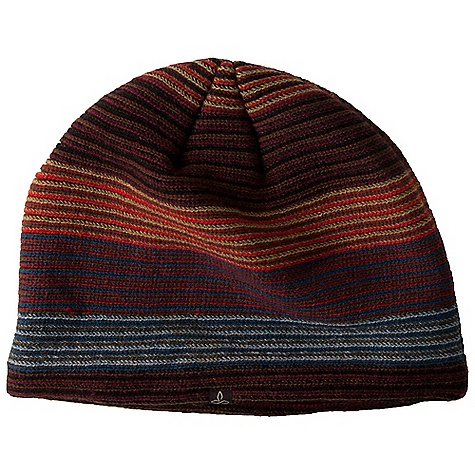 Entertainment Prana Andis Beanie DECENT FEATURES of the Prana Andis Beanie Horizontal stripe beanie Fully fleece lined Woven Label Standard Fit The SPECS Exterior: 100 Acrylic Lining: 100 Polyester - $27.95