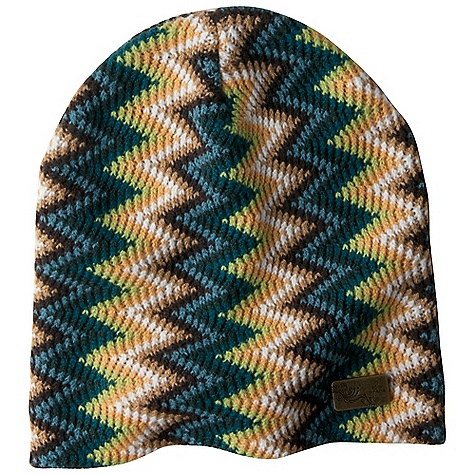 Entertainment Prana Boni Beanie DECENT FEATURES of the Prana Boni Beanie Slouchy style beanie Bright and colorful zig zag design Prana metal logo tab Fleece inner band Slouch Fit The SPECS Fabric: 100 Acrylic - $27.95
