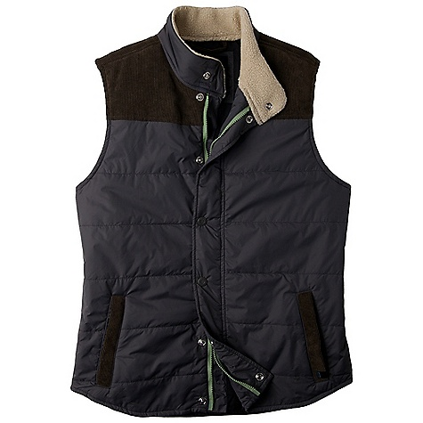 Free Shipping. Prana Men's Waylen Vest DECENT FEATURES of the Prana Men's Waylen Vest Contrast corduroy front yoke, back yoke and front welt pockets Sherpa lining inside collar Contrast pop zipper 175 gsm insulation DWR Coated Standard fit The SPECS Center Back Length: 29in. / 73.66 cm 100 Nylon - $124.95