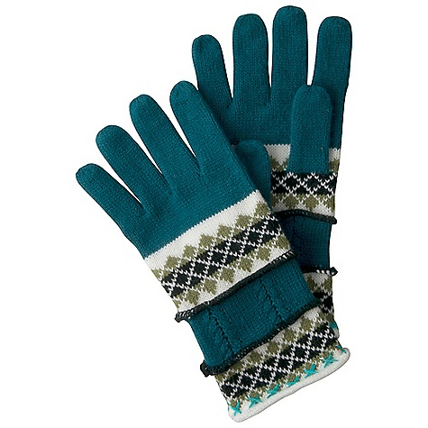 Prana Robin Gloves DECENT FEATURES of the Prana Robin Gloves Five finger decorative gloves Intricate intarsia knit design 11in. long from fingertip to cuff The SPECS Fabric: 100 Acrylic - $31.95