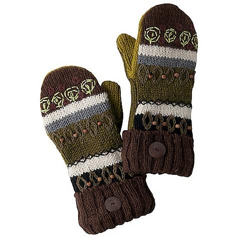 Prana Jiva Mittens DECENT FEATURES of the Prana Jiva Mittens Artisan style mittens Fleece lined Decorative wood button Cuff reaches just past wrist 10in. long from fingertip to cuff The SPECS Fabric: 100 Wool - $36.00