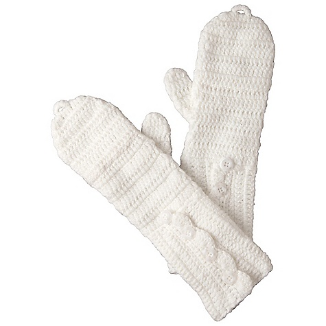 Prana Kitten Mitten DECENT FEATURES of the Prana Kitten Mitten Knit fingerless mittens with optional flap closure Soft, cozy and fun Scalloped edge buttons with floral etched detail 13in. long from closed mitten to cuff The SPECS Fabric: 100 Acrylic - $31.95