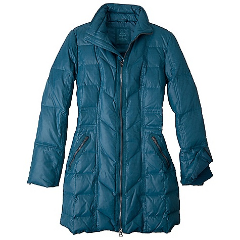 Hunting On Sale. Free Shipping. Prana Women's Devan Jacket DECENT FEATURES of the Prana Women's Devan Jacket Crosshatch nylon with durable water repellent (DWR) finish Zippered pockets Twill tape accent details Car coat length Quilted with grey duck down 800 Power fill Standard fit The SPECS 100 Nylon 1.89 oz / sq yd - $178.99