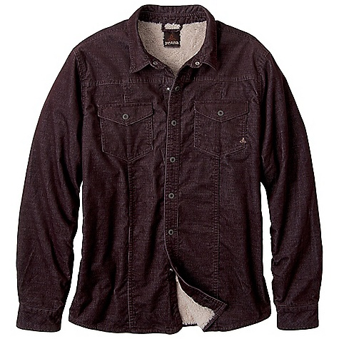 Features of the Prana Men's Gomez Shirt Jacket 16W corduroy Double panel seaming with double needle topstitch Sherpa lining through body and nylon lining through sleeves Custom engraved snap closure - $76.99
