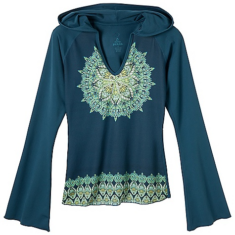 Fitness Free Shipping. Prana Women's Petra Hoodie DECENT FEATURES of the Prana Women's Petra Hoodie Veeda fabrication Medallion art on front Soft hand Micropoly slighty belled sleeves, back body and hood A perfect yoga essential piece The SPECS Front and Back Panels 45 Recycled Spun Polyester / 45 Spun Polyester / 10 Spandex / 11 oz/ly Sleeves, back body and hood 92 Micropolyester / 8 Spandex / 11.29 oz/ly - $79.95