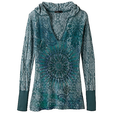 Free Shipping. Prana Women's Rapture Hoodie DECENT FEATURES of the Prana Women's Rapture Hoodie Lightweight burnout fabric Pullover silhouette with hood Rib at cuff and neck Sublimation print on front Garment dyed The SPECS 61 Recycled Polyester / 39 Organic Cotton - $69.95