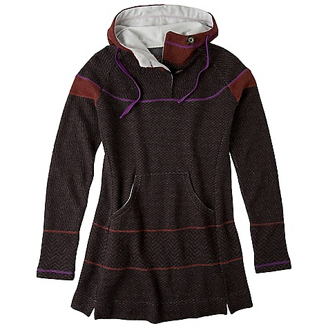 On Sale. Free Shipping. Prana Women's Caitlyn Tunic Sweater DECENT FEATURES of the Prana Women's Caitlyn Tunic Sweater Italian wool blend sweater knit Long sleeve pullover Multi-patterned tonal body Contrast stitching details Double button closure at neck Contrast drawcord at hood Interior brushed tricot trim Standard fit The SPECS 57 Recycled Wood / 22 Polyester / 18 Nylon / 3 Other fibers - $108.99