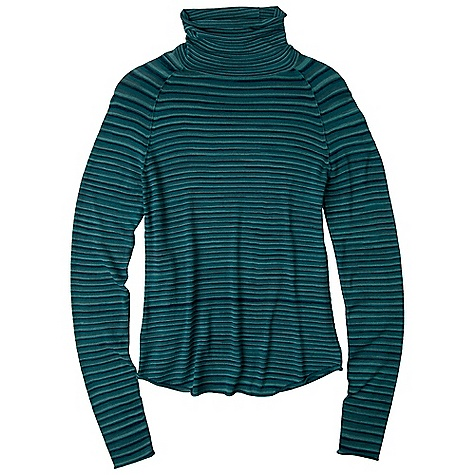 Free Shipping. Prana Women's Sereta Turtleneck DECENT FEATURES of the Prana Women's Sereta Turtleneck Traditional, fitted turtleneck in a four color space dye Raglan sleeve and shirt tail hem The SPECS Fabric: 77 Spun Rayon / 23 Nylon - $74.95