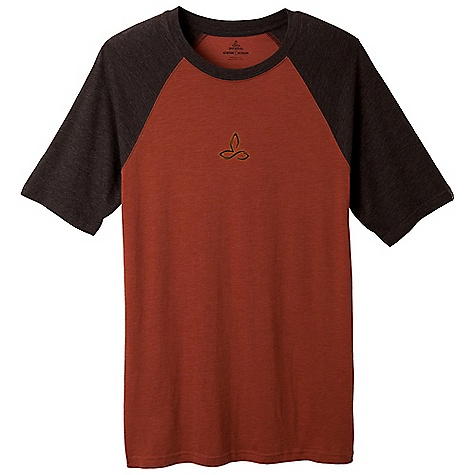 On Sale. Prana Men's Raglan Heather Tee DECENT FEATURES of the Prana Men's Raglan Heather Tee Light weight heathered jersey Raglan sleeve Graphics printed with waterbased ink Performance Fit. Chose the silhouette, graphic and tee color The SPECS Fabric: 60 Cotton / 40 Polyester Weight: 3.5 oz - $19.99