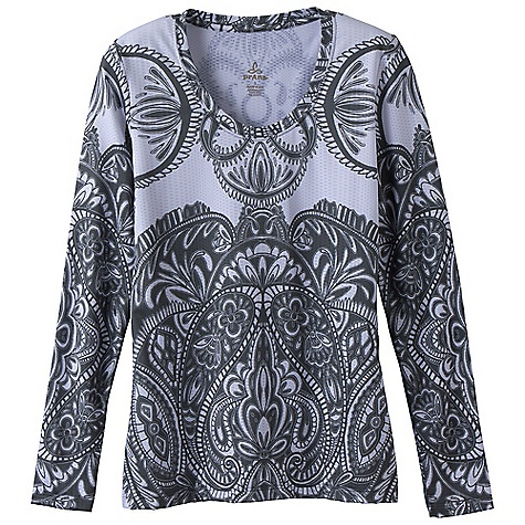 Free Shipping. Prana Women's Jessie Top DECENT FEATURES of the Prana Women's Jessie Top Performance textured fabric Crew neck Long sleeve tee with elaborate all over graphic art Quick dry Fitted silhouette The SPECS Fabric: 89 Polyester / 11 Spandex Weight: 11 oz/ly - $64.95