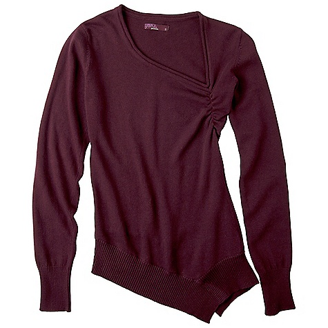 On Sale. Free Shipping. Prana Women's Ziggy Sweater DECENT FEATURES of the Prana Women's Ziggy Sweater Fair Trade Certified, organic cotton wool blend sweater knit Asymmetrical hem band and neckline Shirring at front chest Long rib sleeve cuff The SPECS Fabric: 80 Organic Cotton / 20 Wool - $47.99