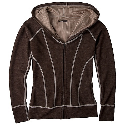 Free Shipping. Prana Women's Colleen Zip Up DECENT FEATURES of the Prana Women's Colleen Zip Up Long sleeve full zip hoodie Jacquard plated Merino blend knit with moisture management Contrast stitching The SPECS Fabric: 70 Polyester / 30 Merino Wool - $109.95