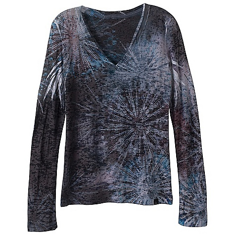 Free Shipping. Prana Women's Burst Top DECENT FEATURES of the Prana Women's Burst Top Beautiful lightweight burnout fabric with all over sublimation print V-neck The SPECS Fabric: 50 Cotton / 50 Polyester - $59.95