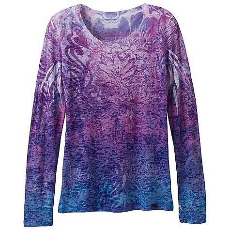 Free Shipping. Prana Women's LS Lotus Top DECENT FEATURES of the Prana Women's Long Sleeve Lotus Top Lightweight burnout fabric Front and back sublimation print The SPECS 61 Polyester / 39 Cotton - $59.95