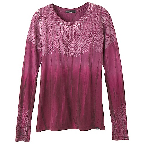 On Sale. Free Shipping. Prana Women's Sublime Top DECENT FEATURES of the Prana Women's Sublime Top Lightweight jersey Novelty in.Rain Washin. garment dye treatment Placement mosaic print at chest and sleeve hem Crew neck The SPECS Fabric: 100 Cotton - $37.99