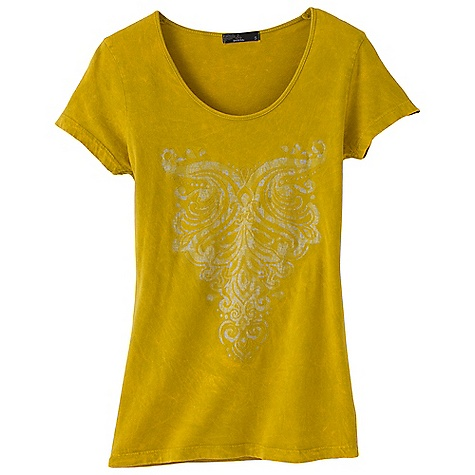 On Sale. Free Shipping. Prana Women's Onyx Tee DECENT FEATURES of the Prana Women's Onyx Tee Lightweight cotton jersey Laser cut front embellishment with burn out applique at inside Novelty in.mineral washin. garment dye treatment The SPECS Fabric: 100 Cotton - $33.99