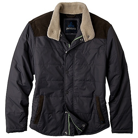 Free Shipping. Prana Men's Waylen Jacket DECENT FEATURES of the Prana Men's Waylen Jacket Contrast corduroy front yoke, back yoke and front welt pockets Sherpa lining along inside collar 100 gram insulation DWR coating Standard Fit The SPECS Fabric: 100 Polyester Shell Weight: 4.5 oz 100 Nylon Lining - $154.95