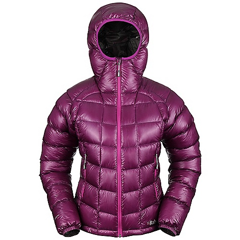 Free Shipping. Rab Women's Infinity Jacket DECENT FEATURES of the Rab Women's Infinity Jacket Pertex Quantum GL inner and outer Stitch-through baffle construction Lycra edged down filled hood 2 YKK zipped hand warmer pockets 1 YKK zipped internal security pocket YKK front zip, mini internal insulated zip baffle, chin guard Elasticated cuffs, hem drawcord Stuff sack Fit: Regular The SPECS Weight: 14 oz / 395 g Outer and inner Weight/m2: 25g/m2 Outer and inner Comp: 100% nylon 6 Insulation Fill Power: 800 Insulation: Weight: (12): 6 oz / 180 g, European Goose Down This product can only be shipped within the United States. Please don't hate us. - $325.00