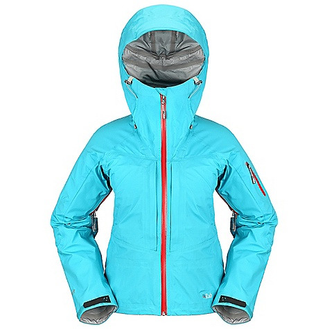 Ski Free Shipping. Rab Women's Kickturn Jacket DECENT FEATURES of the Rab Women's Kickturn Jacket eVent 3L fabric Ski helmet compatible hood, EVA foam, wired peak, kitty clip roll down closure YKK Aquaguard front zip, internal storm flap, rain drain Tricot lined collar 2 YKK zipped Napoleon chest pockets, storm flaps, mesh lining Venting underarm pit zips, YKK calendered zips 1 YKK Aquaguard zipped arm pocket Fixed lightweight stretch mesh snowskirt Articulated sleeves Velcro cuffs, hem drawcord Fit: Regular The SPECS Weight/m2: 112 g/m2 Comp: 100% nylon Total Weight: 70 oz / 480 g This product can only be shipped within the United States. Please don't hate us. - $400.00