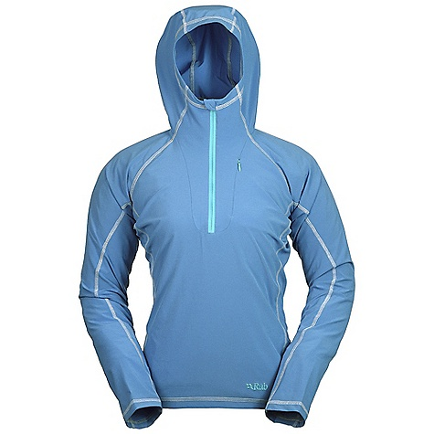 Features of the Rab Women's Aurora Pull-On Matrix SWS fabric Polygiene Stay Fresh odour control treatment Under helmet hood Deep venting YKK chest zip 1 YKK Conceal zipped chest pocket Flatlock low bulk stretch seams Open cuffs Slim Fit - $65.99